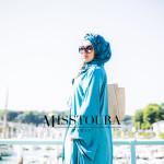 Cape Samra Bleu celadon & Pantalon Amélia Ecru - Misstoura